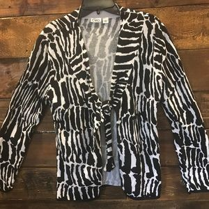 Cato zebra striped open sweater with tie in front